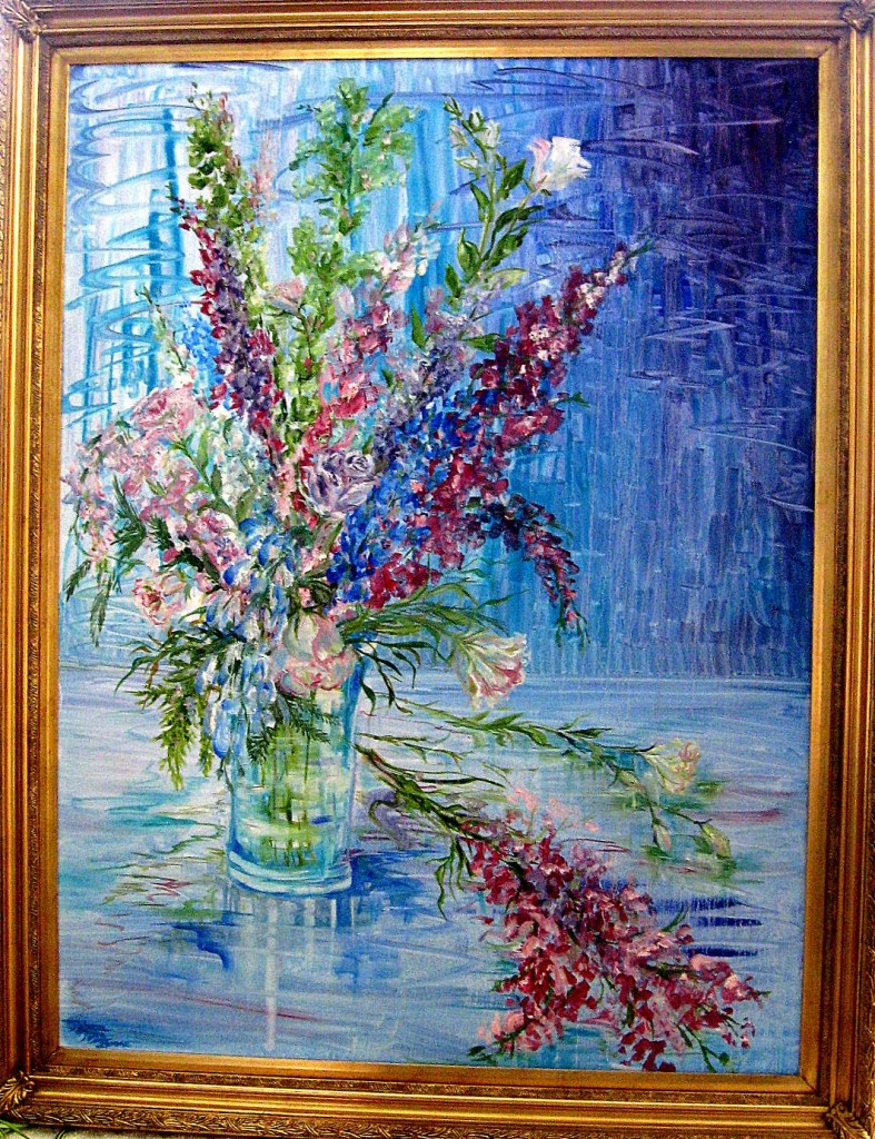 oil painting of blue and pink flowers