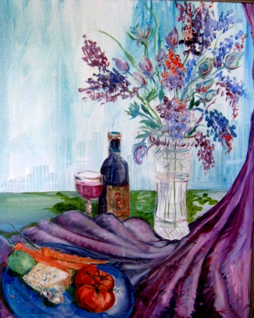 Flowers wine and cheese in purple